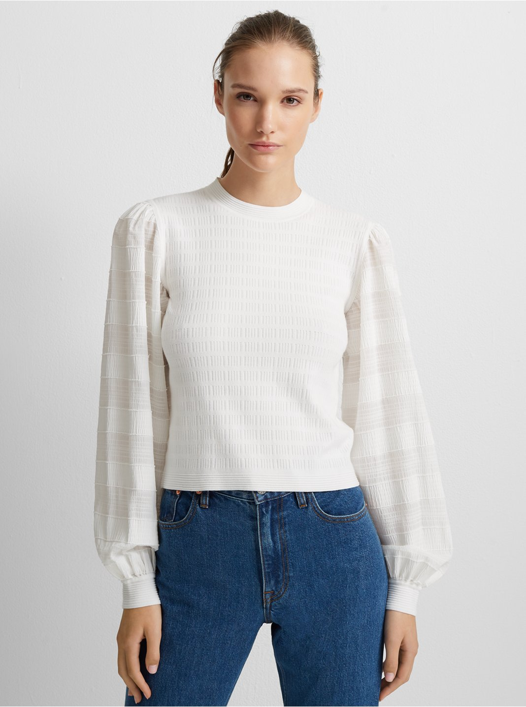 Woven Sleeve Crewneck Sweater