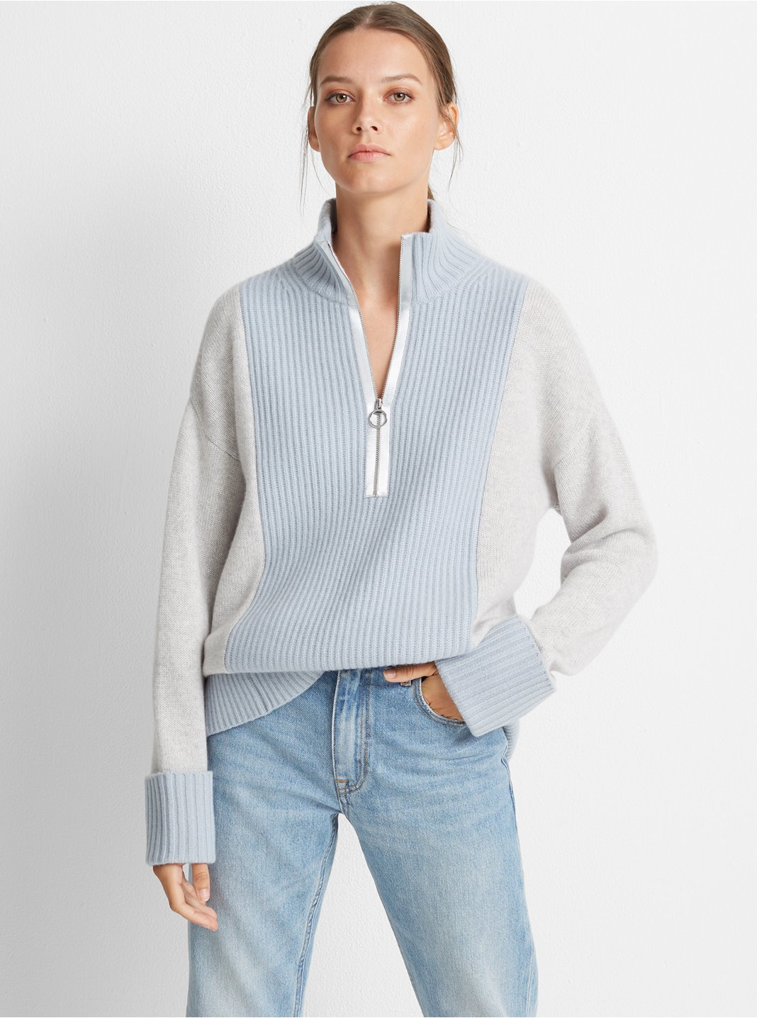 Quarter-Zip Cashmere Sweater