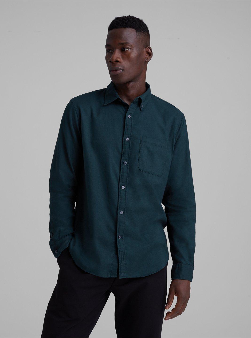 Slim Solid Flannel Shirt