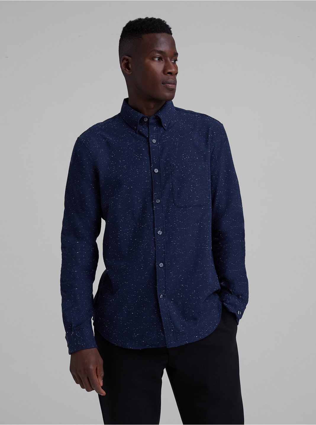 Slim Solid Nep Flannel Shirt