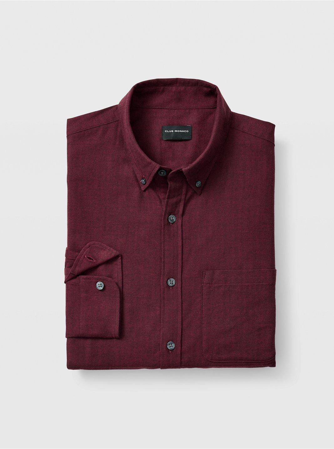 Slim Herringbone Flannel Shirt