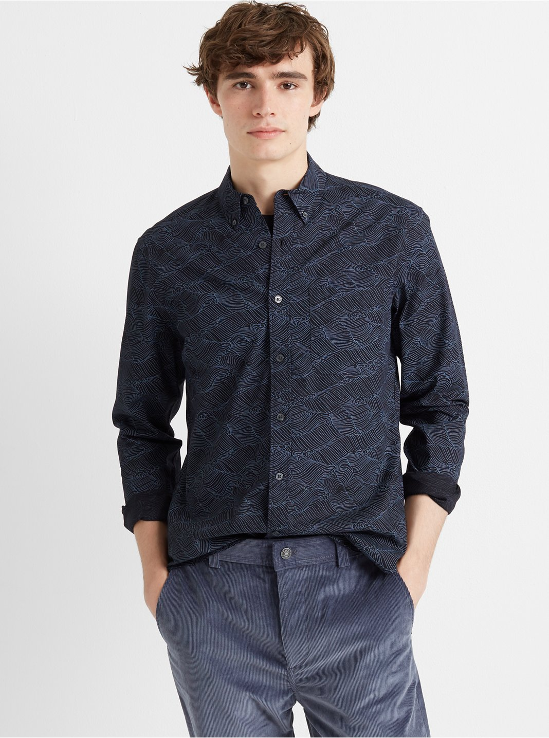 Slim Layered Wave Shirt
