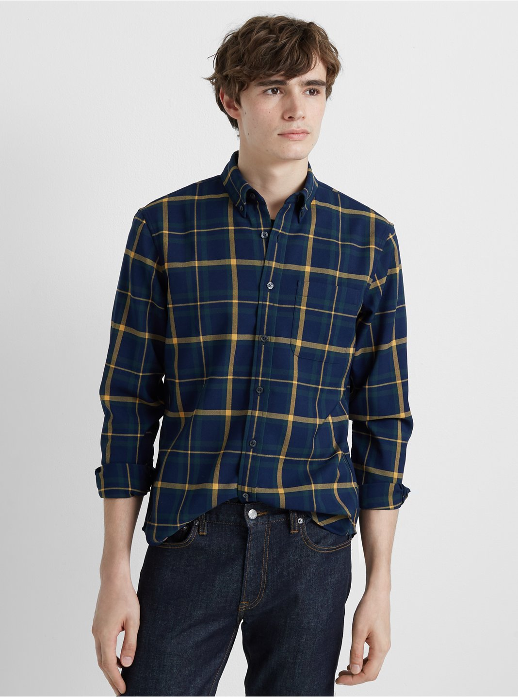 Slim Twill Plaid Shirt