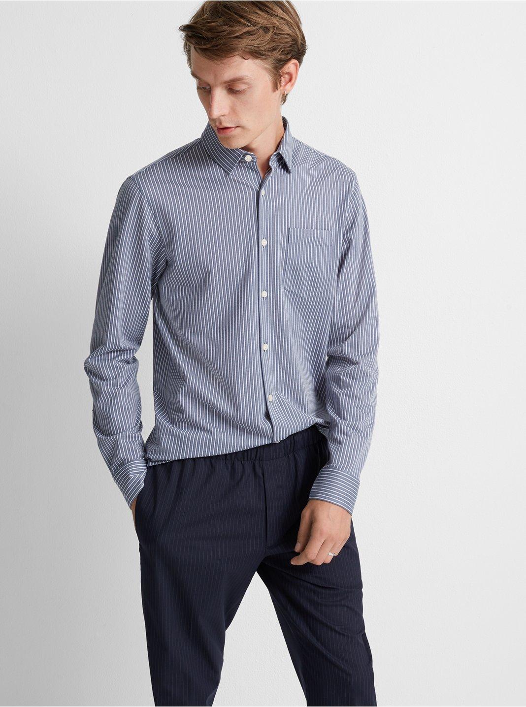 Full-Button Knit Stripe Shirt