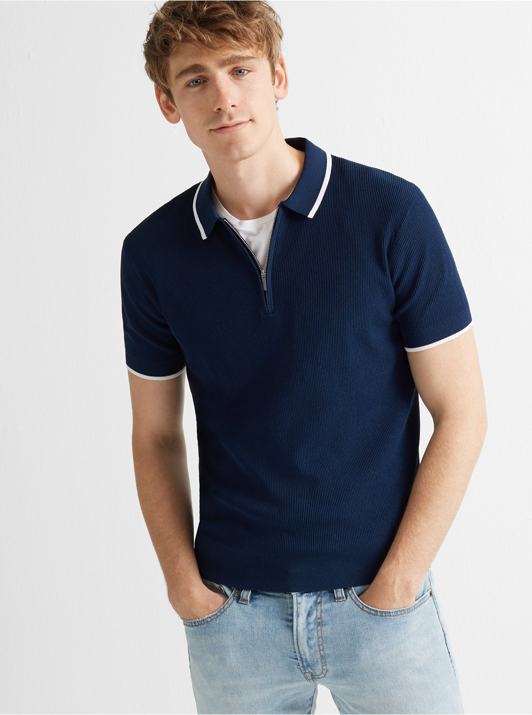 Quarter-Zip Ribbed Polo