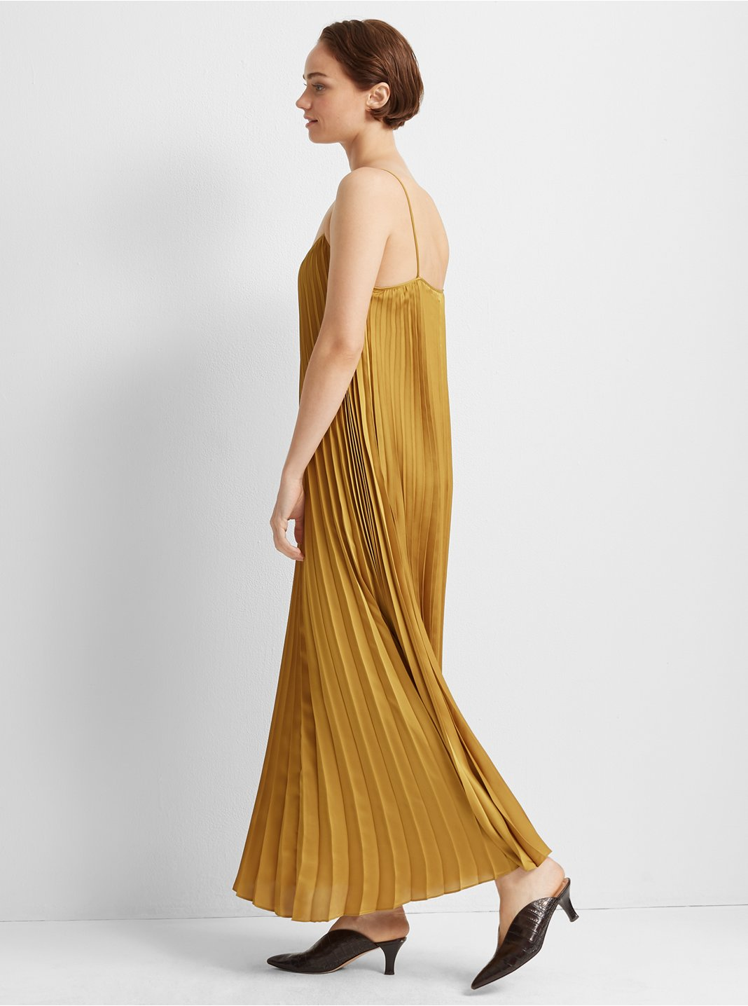 Strappy Pleated Maxi Dress