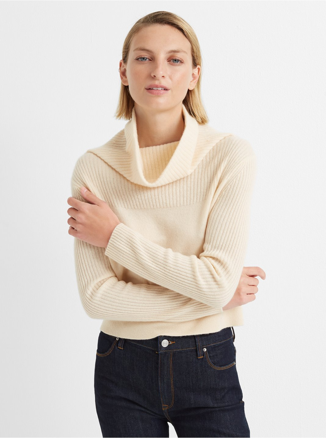 Cashmere Cowlneck Rib Sweater