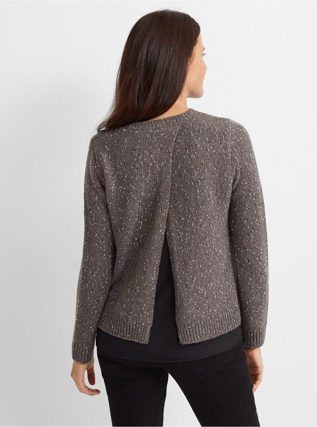 Split-Back Woven Sweater