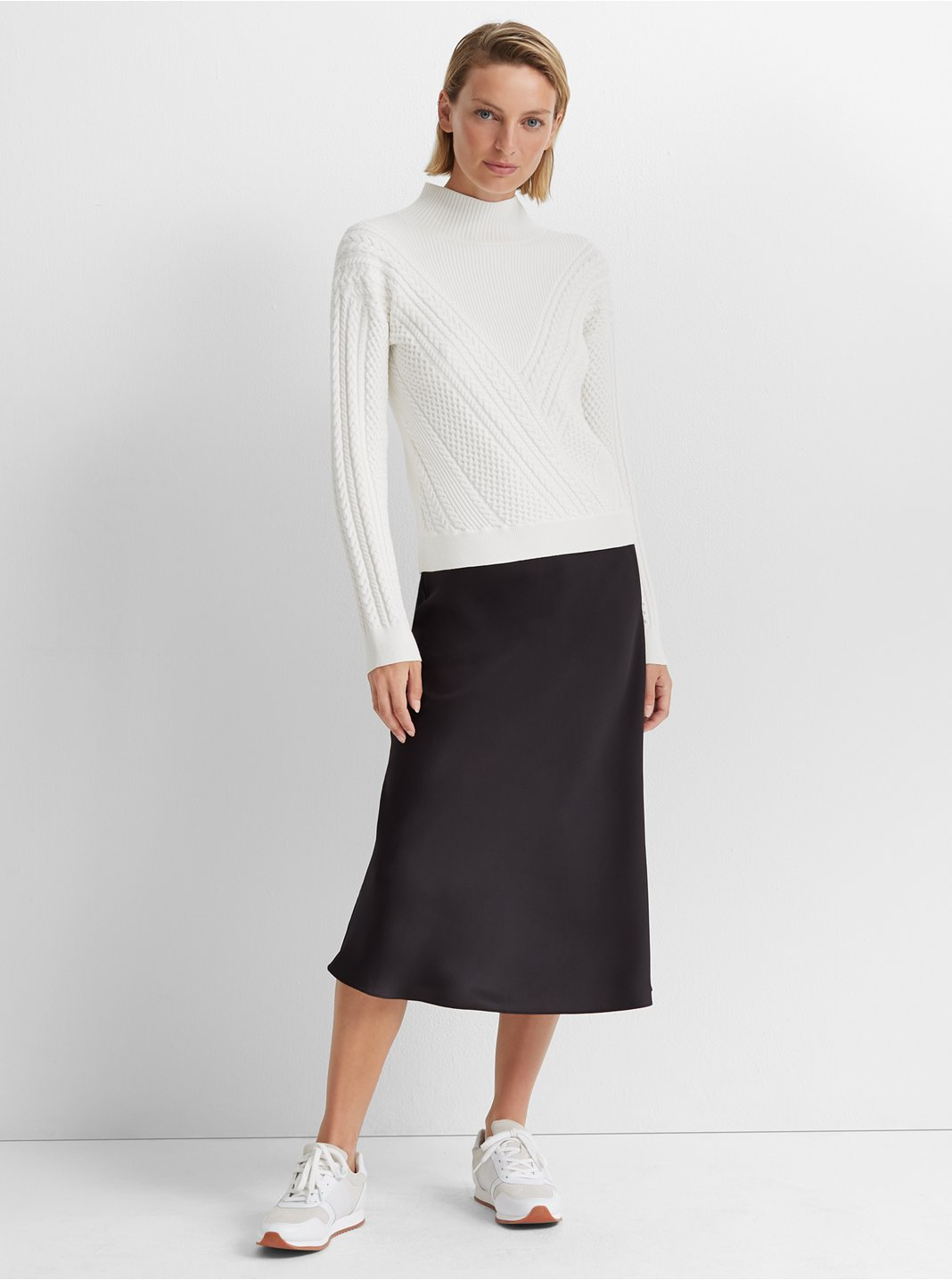 Cable Front Turtleneck Sweater