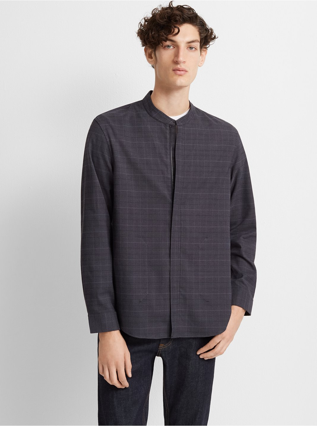 Glen Plaid Zip-Front Shirt